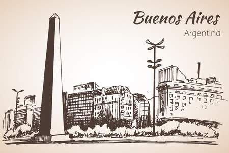 buenos aires: Buenos Aires cityscape with obelisk. Argentina. Sketch. Isolated on white background.