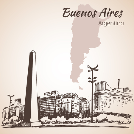 southamerica: Buenos Aires cityscape with obelisk. Argentina. Sketch. Isolated on white background.