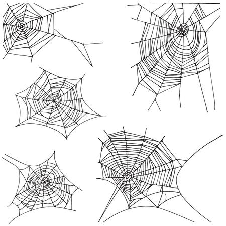 Spider hand drawn net set. Isolated on white background.