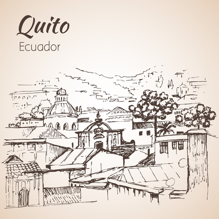 Quito hand drawn sketch. Ecuador. Isolated on white background