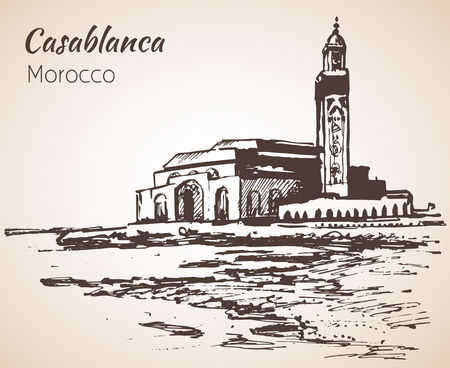Hassan II Mosque, Casablanca. Marocco. Sketch. Isolated on white background 免版税图像 - 72334807