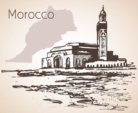 Mosquée Hassan II, Casablanca. Maroc. Esquisser. Isolé sur fond blanc Vecteurs