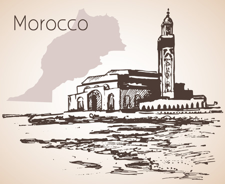 Hassan II Mosque, Casablanca. Marocco. Sketch. Isolated on white background