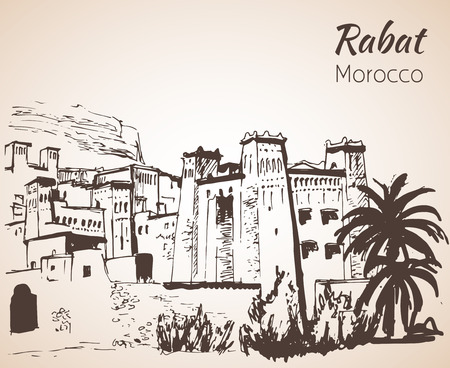 Morocco attracrions.  Sketch. Isolated on white background.