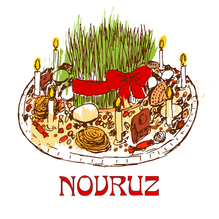 Novruz tray with sweets and candles. Isolated on white background