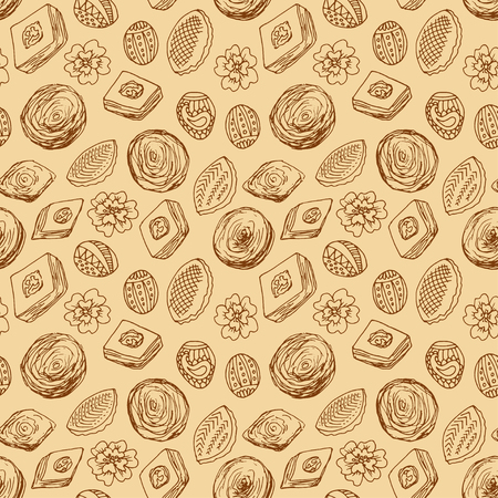Novruz seamless background with sweets. Outlined