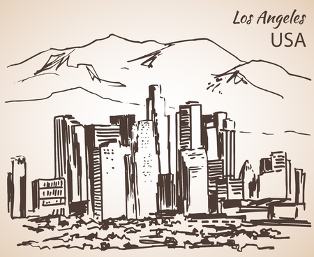 the americas: Los Angeles cityscape sketch. Isolated on white background