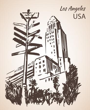 ロサンゼルス市役所景観スケッチ。白い背景に分離