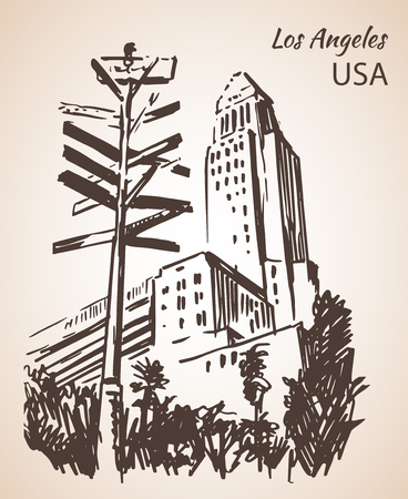Los Angeles City Hall cityscape sketch. Isolated on white background