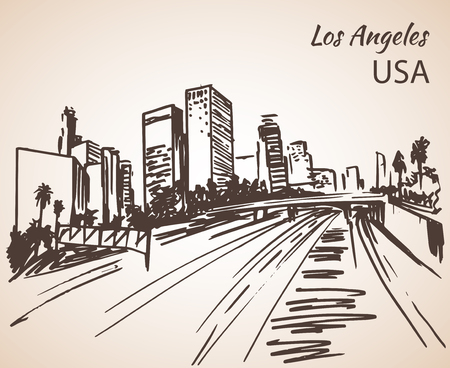 ロサンゼルスの街並みのスケッチ。白い背景に分離  イラスト・ベクター素材