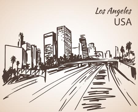 Los Angeles Stadtbild Skizze. Isoliert auf weißem Hintergrund