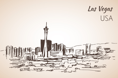 Las Vegas cityscape sketch. Isolated on white background Иллюстрация