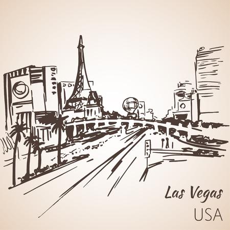 vegas strip: Las Vegas cityscape sketch. Isolated on white background Illustration