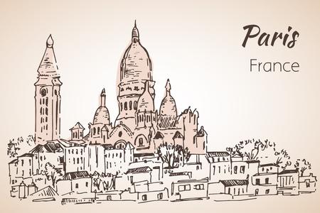 Paris cityspace. Basilique du Sacre-Coeur on Montmartre. Sketch. Isolated on white background