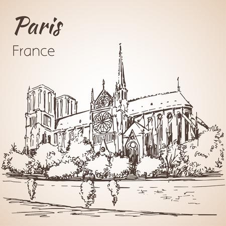 パリ cityspace。大聖堂ノートルダム ・ ド ・ パリ。スケッチ。白い背景に分離  イラスト・ベクター素材