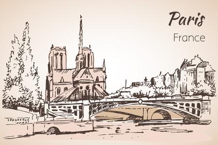 Stadsruimte van Parijs. Kathedraal Notre Dame de Paris. Schetsen. Geïsoleerd op witte achtergrond