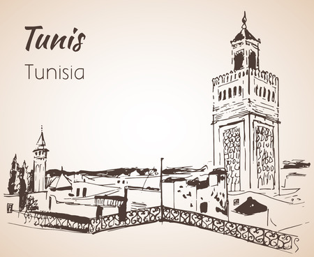 Tunis cityscape sketch. Isolated on white background