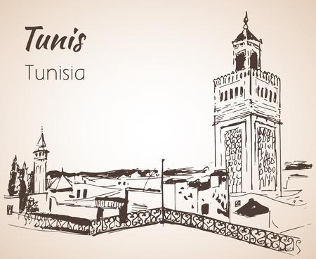 튀니스 도시 풍경 스케치입니다. 흰 배경에 고립