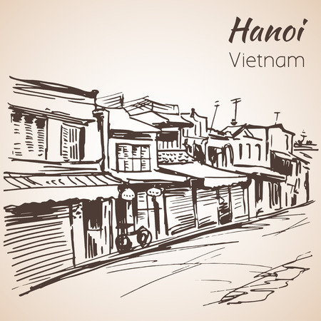 Tipical street view in Hanoi. Vietnam. Sketch. Isolated on white background