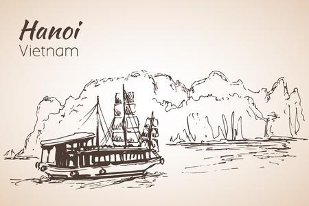 Halong bay boats. Vietnam. Isolated on white background Illustration