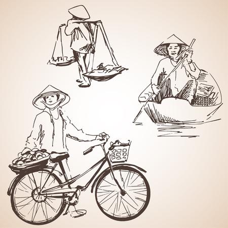 Silhouettes de Vietnamiens avec fruits, vélo et bateau. Isolé sur fond blanc Banque d'images - 77428089