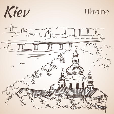 cupola: Kiev cityscape sketch with bridge. Isolated on white background