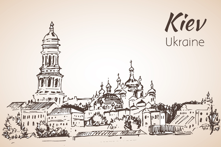 Saint Sophia Cathedral sketch Kiev. Kiev-Pechersk Lavra - Caves Monastery. Isolated on white background Ilustração Vetorial