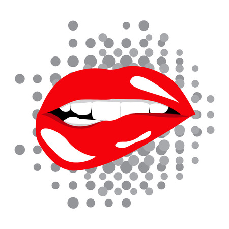 Open Lips on dotted background. Isolated on white background