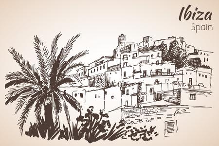 ヨーロッパ スペイン、バレアレス諸島イビサ旧市街。イビサ城。歴史的建造物。旅行スケッチ。手描きのビンテージ帳イラスト。白い背景に分離