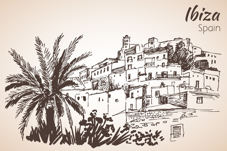 Old city of Ibiza Town, Balearic islands, Spain, Europe. Ibiza castle. Historical buildings.Travel sketch. Hand-drawn vintage book illustration. Isolated on white background