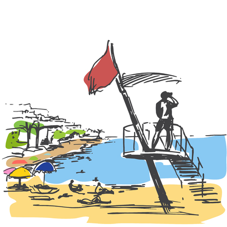 brushed: Panoramic view of beach. Sketch. Isloated on white background