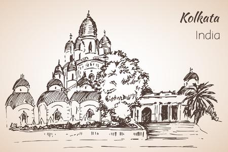 Dakshineshwar Temple - city Kolkata. Isoated on whita background