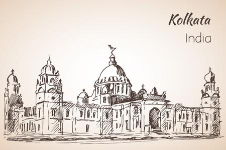 ビクトリア-ホール - インドの都市コルカタのスケッチ。 Whita の背景に Isoated  イラスト・ベクター素材