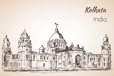 Victoria-hall - Sketch of indian city Kolkata.  Isoated on whita background