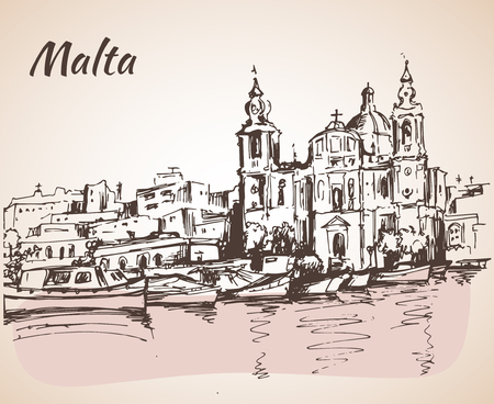 Malta island old buildings sketch. Isolated on white background