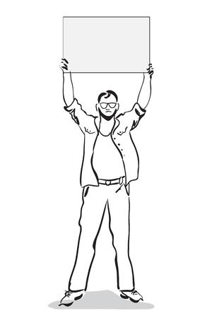 manifest: Man standing with plakat. Isolated on white background Illustration