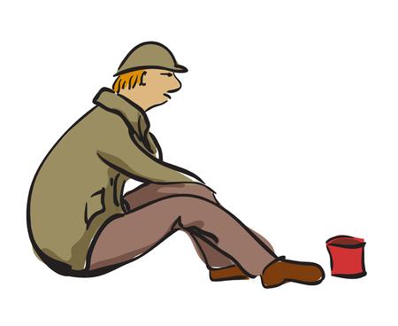 Ein Mann sitzt auf der Straße mit kleiner Dose für Geld. Isoliert auf weißem Hintergrund