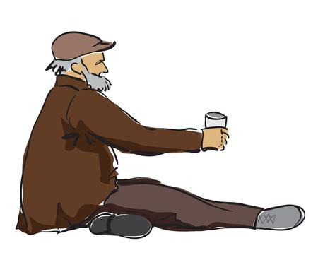 De oude mensenzitting in de straat met klein kan voor geld. Geïsoleerd op witte achtergrond