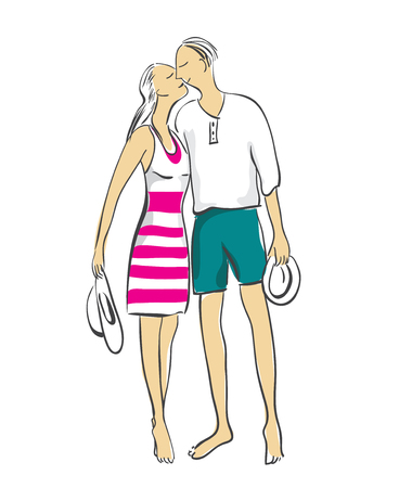 Joven pareja en traje de baño - de pie, abrazos, besos. Aislados en fondo blanco Ilustración de vector