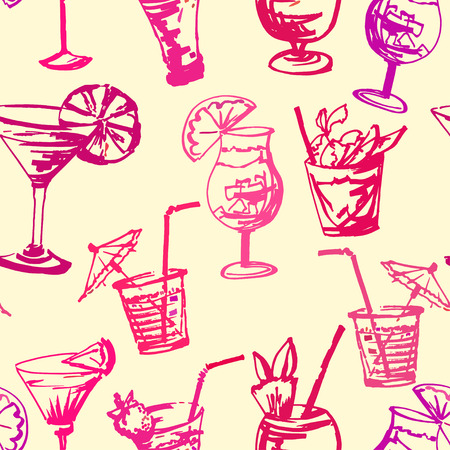 Seamless pattern with hand drawn cocktails glasses