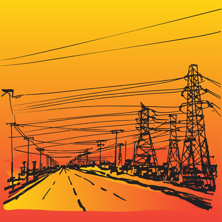Colorful hand drawn background with network of different electricity cables