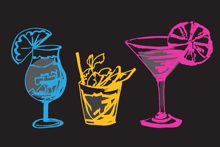 Set with hand drawn colorful cocktails glasses. Isolated on black background Ilustração