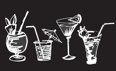 Set met hand getrokken cocktails glazen. Geïsoleerd op zwarte achtergrond