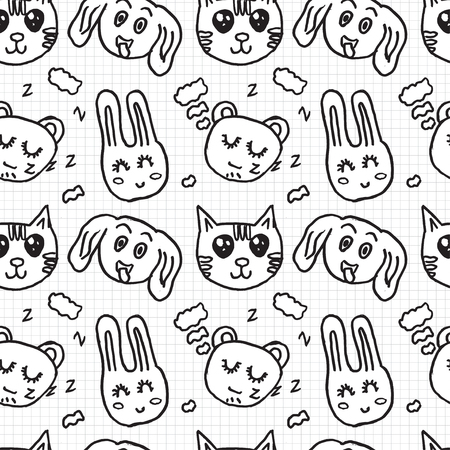 silueta de gato: Seamless pattern with childs draning. Isolated on school paper Vectores