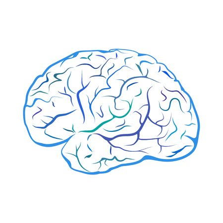 Blue outline brain mark. Isolated on white background