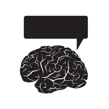 구름을 말하는와 검은 두뇌 마크. 흰 배경에 고립