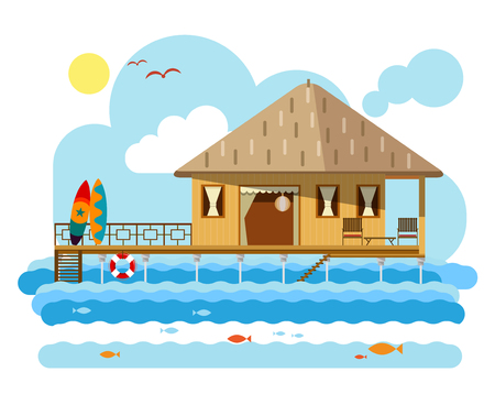 Simple drawing of wooden bungalow with surfing boards. Isolated on white background Illustration