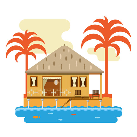 Simple drawing of wooden bungalow with palms. Isolated on white background