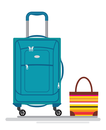 Colorful different types of luggage. Flat design. Vector. Isolated on white background