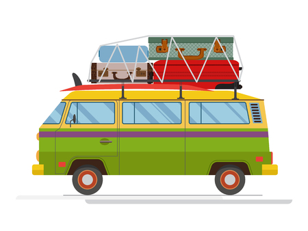 Isolated old minibus with big luggage on the roof. Flat design. Vector. Isolated on white background